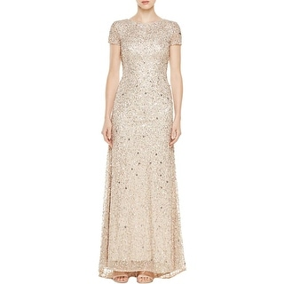 Adrianna Papell Womens Evening Dress Sequined Scoop Back