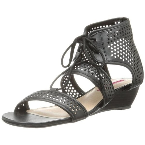C Label Womens Coco Wedge Sandals Faux Leather Perforated