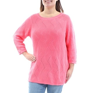 CHARTER CLUB $59 Womens New 2312 Coral Jewel Neck Cuffed Sweater XL Plus B+B