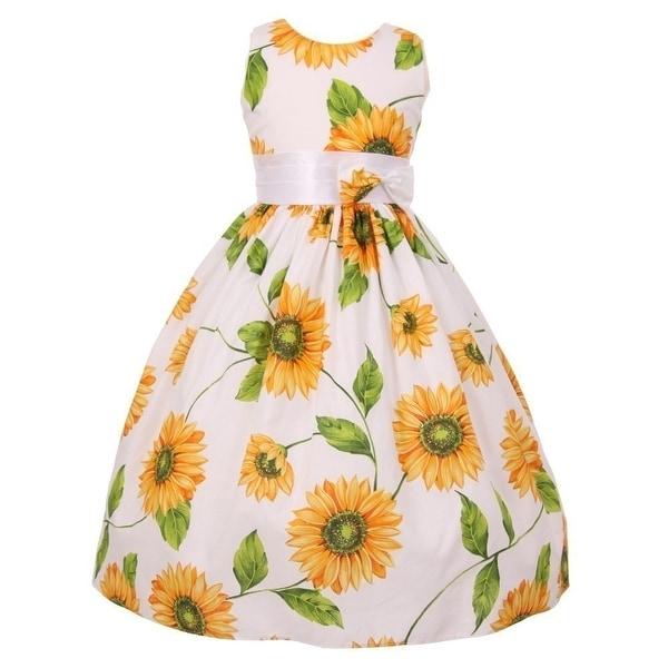 299098d024c Little Girls Yellow Sunflower Print Bow Attached Flower Girl Dress 2T-6