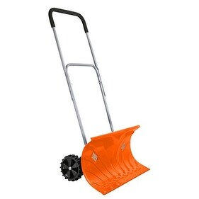 "Ivation Heavy Duty Rolling Snow Pusher with 6"" Rubber Wheels & Adjustable Handle, Bright Orange"