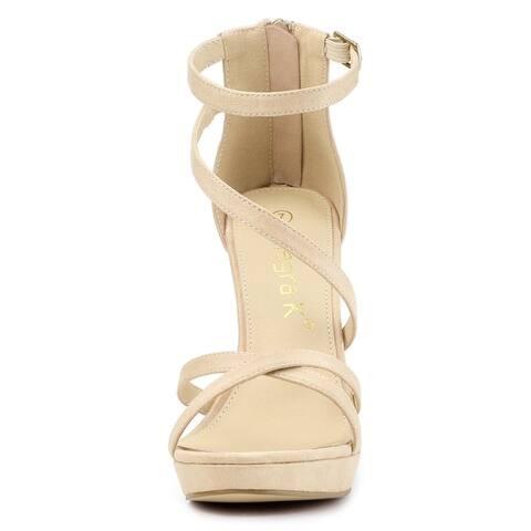Women's Stiletto Heel Zipper Platform Ankle Strap Sandals