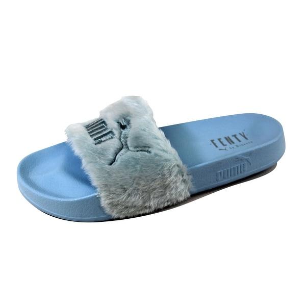 Shop Puma Women s Fenty Fur Slide Cool Blue Puma Silver 365772 03 ... daba293568