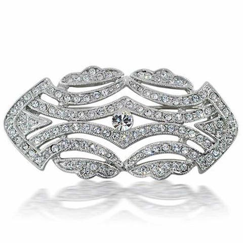 Bling Jewelry Art Deco Vintage Crystal Gatsby Inspired Wedding Brooch Pin Rhodium Plated