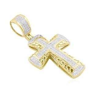 10K Gold Genuine Diamond Cross Pendant 1/5ctw Small Nugget Style Cross (i2/i3, i/j)