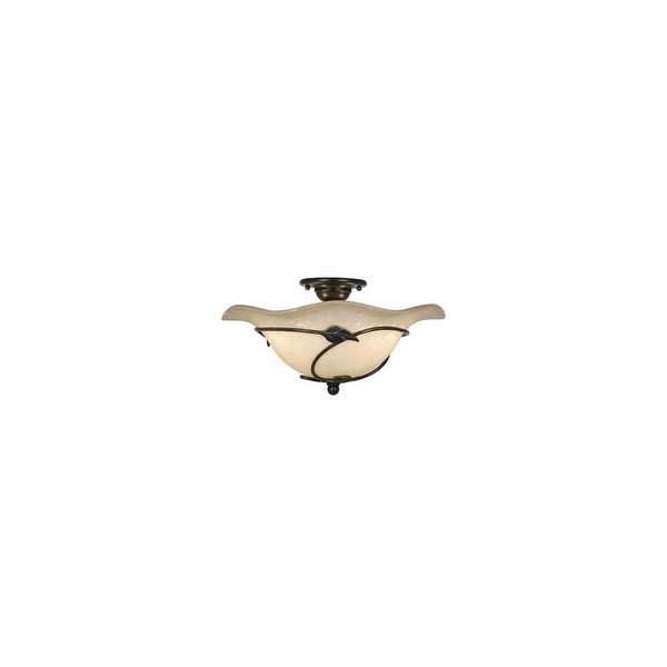 "Vaxcel Lighting CF38815 Vine 2-Light Semi-Flush Indoor Ceiling Fixture with Frosted Glass Shade - 15"" Wide - oil shale - n/a"