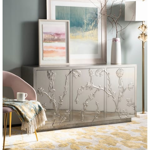 """SAFAVIEH Couture Narcisa Floral Sideboard / Silver - 60""""w x 17.7""""d x 31.5""""h"""
