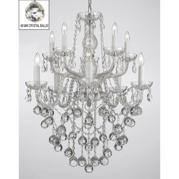 f878c9ead4 Swarovski Crystal Trimmed Chandelier Lighting with Faceted Crystal Balls