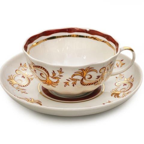 Golden Lace Teacup and Saucer Set