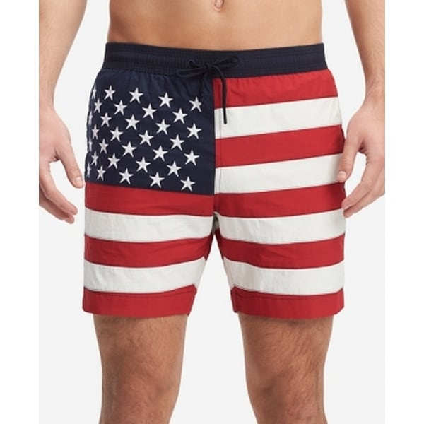 c57a7b6b44 Shop Tommy Hilfiger Red Mens Size Large L USA Flag Swim Trunks Swimwear -  Free Shipping On Orders Over $45 - Overstock - 28246682