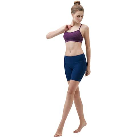"TSLA Tesla FYP11 Women's 7"" Bike Running Yoga Compression Shorts - Solid Navy"