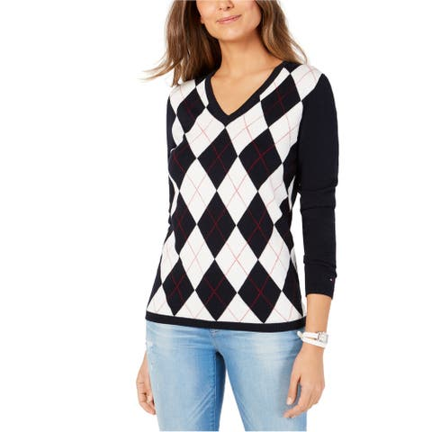 Tommy Hilfiger Womens Argyle Pullover Sweater, Blue, X-Large