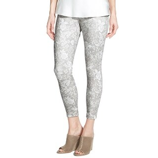 Hue NEW Silver Ivory Women's Small S Jegging Shimmer Floral Pants