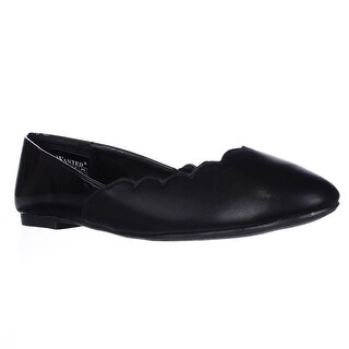 Wanted Kristy Scalloped Ballet Flats, Black - 6.5 us