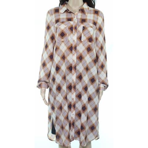 prAna Womens Blouse Orange Size Large L Snap Closure Front Tartan Plaid