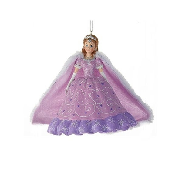 "4.25"" Decorative Purple Princess with Cape Hanging Christmas Ornament"