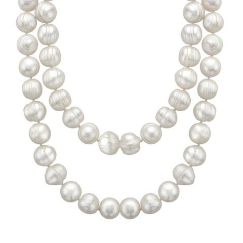 Honora 35-Inch Freshwater Pearl Necklace with Sterling Silver Clasp