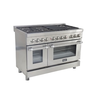 KUCHT Pro-Style 48 in. 6.7 cu. ft. Dual Fuel Range LP Gas w/ Sealed Burners, Griddle and Convection Oven in Stainless Steel