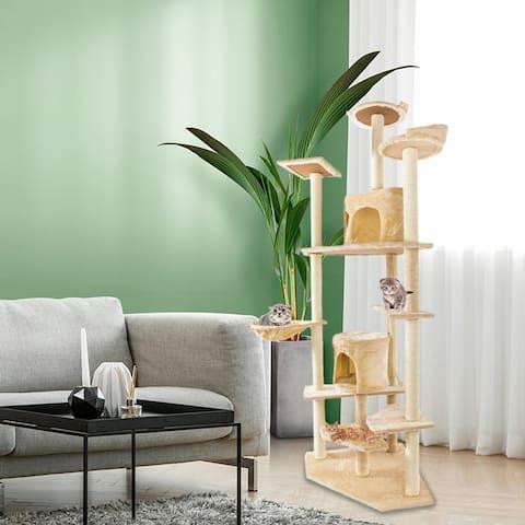 "80"" Solid Cute Sisal Rope Plush Cat Climb Tree Cat Tower Black - Beige"