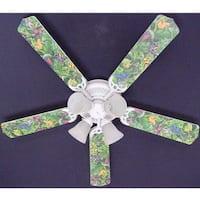 Jungle Tree Frogs Print Blades 52in Ceiling Fan Light Kit - Multi