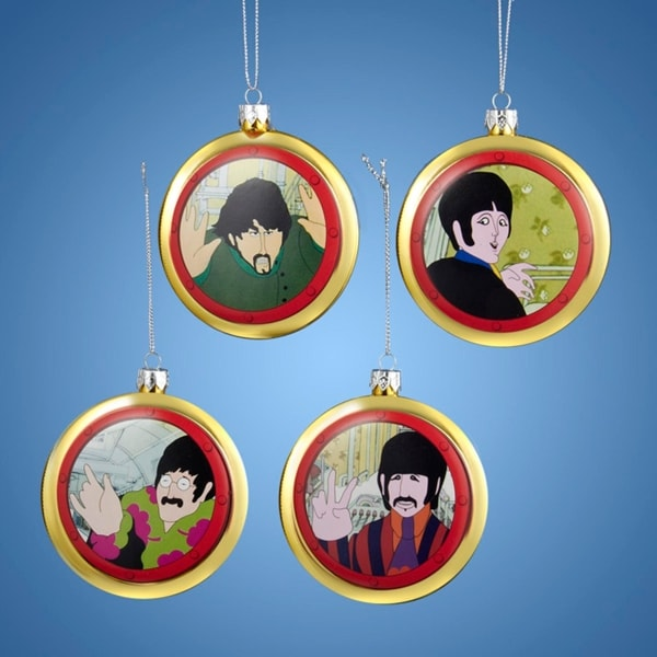"""Set of 4 The Beatles Yellow Submarine Decorative Disc Christmas Ornaments 3.5"""" - GOLD"""