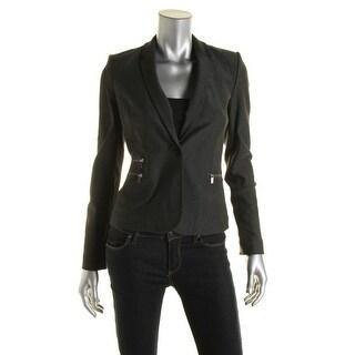 Calvin Klein Womens Petites Ponte Notch Collar One-Button Blazer