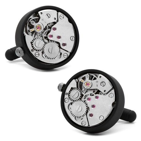 Matte Black Watch Movement Cufflinks
