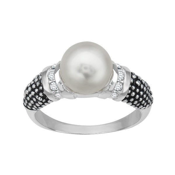 Aya Azrielant Ring with Swarovski Pearl and Crystal in Sterling Silver - White