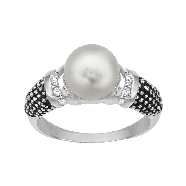 Aya Azrielant Ring with Swarovski Pearl and Crystal in Sterling Silver