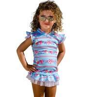 Sun Emporium Little Girls Sky Blue Pink Sun Shirt Nappy Cover Set