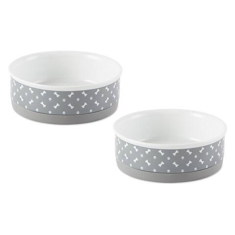 DII Pet Bowl Tossed Bone & Paw Print Gray Medium 6dx2h (Set of 2) - Medium Bowl Set