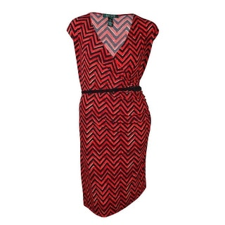 Lauren Ralph Lauren Women's Belted V-Neck Chevron Jersey Dress - 3x