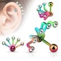 Five Crystal Set Fan Hanging 316L Surgical Steel Cartilage/Tragus Barbell (Sold Ind.) - Thumbnail 4