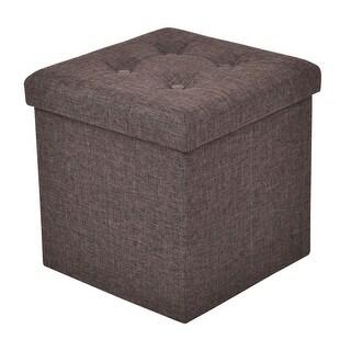 Gymax Brown Folding Ottoman Storage Stool Footrest Furniture