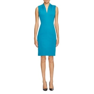 T Tahari Womens Wear to Work Dress Pleated Collar Sleeveless
