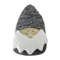 "8"" Gray and White Elegant Santa Head Gnome Tabletop Decoration"