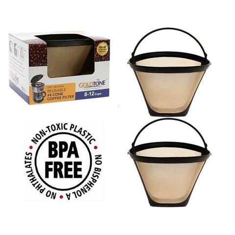 GoldTone Reusable 8-12 Cup #4 Cone Filter Replacement Fits All NINJA Coffee Machines and Brewers, BPA Free (2 Pack)