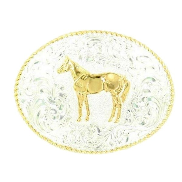 Crumrine Western Belt Buckle Oval Standing Horse Silver Gold - 3 1/2 x 4 1/2