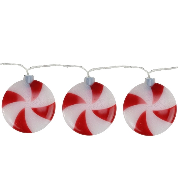 Set of 8 Battery Operated LED Musical Peppermint Twinkling Christmas Lights - RED