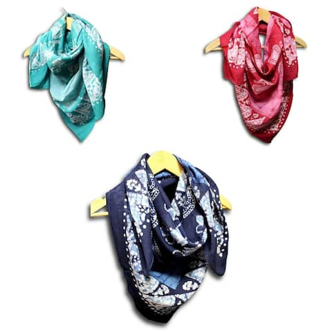 Cotton Scarfs for Women Lightweight Soft Sheer Neck Scarf Head Scarf Multi Batik Summer Paisley Floral Scarf Blue Green Red