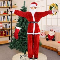 Costway Adult Men Women Suit Set Christmas Santa Claus Costume hat belt clothes - Red