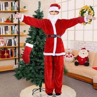 Costway Adult Men Women Suit Set Christmas Santa Claus Costume hat belt clothes - RED
