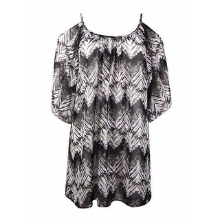 Miken Women's Ikat Print Cold-Shoulder Chiffon Swim Cover