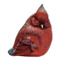 "8"" Red Snowy Left Facing Cardinal Bird Christmas Table Top Decoration"