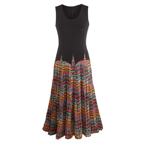 736adb2ec7 Women s Mixed Fabrics Maxi Dress - Black Sleeveless Top Patterned Skirt -  multicolor