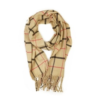 """Super Soft Luxurious Classic Cashmere Feel Winter Scarf - Tan - 72""""x12"""" with 8"""" fringes"""