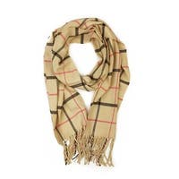 "Super Soft Luxurious Classic Cashmere Feel Winter Scarf - Tan -  72""x12"" with 8"" fringes"