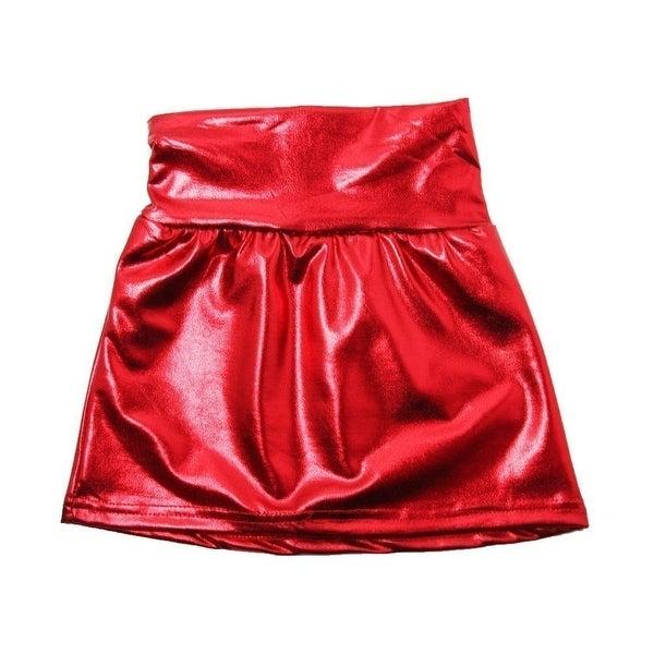 Baby Girls Red Metallic Shine Stretchy Lightweight Soft Skirt 24M