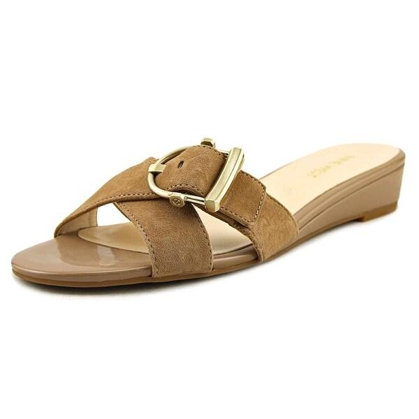 Nine West Tiggy Women Open Toe Suede Nude Slides Sandal