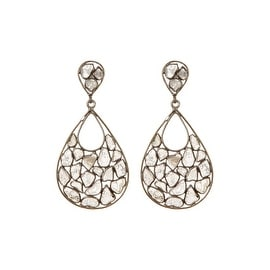 Genuine Slice Diamond Tear Drop Shape Earring in 925 Sterling Silver